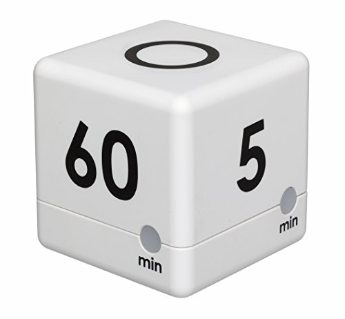 TFA Dostmann Digitaler Cube Timer, Zeitwürfel, Stoppuhr, 6 x 6 x 6 cm, weiß, 38.2032.02