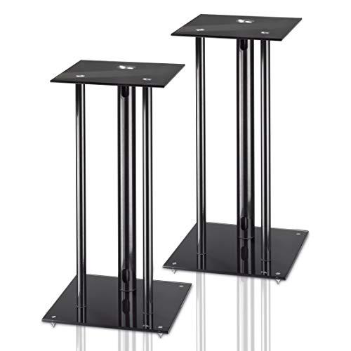 Hama Lautsprecherständer 2er-Set mit versteckter Kabelführung (universaler Boxen-Ständer mit Glas Auflage, Lautsprecher Standfuß für große Boxen bis 30kg, Speaker Stand mit Spikes, Höhe 64 cm) Schwarz
