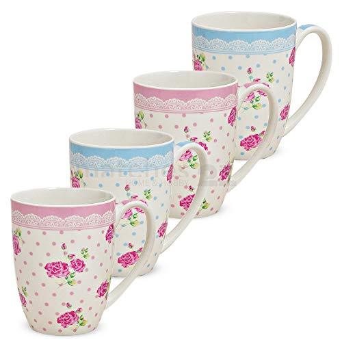 matches21 Becher Tassen Kaffeetassen Kaffeebecher Rosen mit Borte rosa/hellblau Porzellan 4er Set je 10 cm / 300 ml