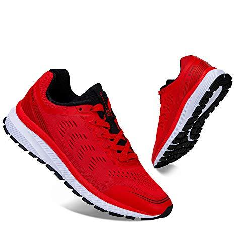 IceUnicorn Fitnessschuhe Herren Damen Laufschuhe Straßenlaufschuhe Turnschuhe Sportschuhe(K3Schwarz Rot,42EU)