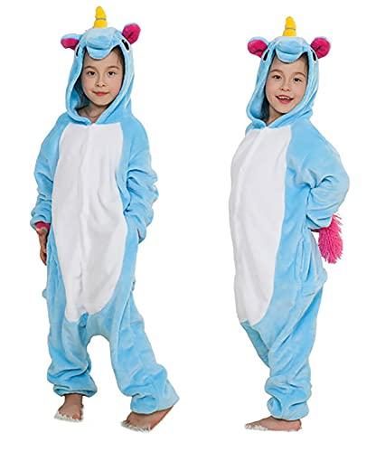 Seawhisper Einhorn Kostüm für Kinder Tier Jumpsuit Faschingskostüm Pyjamas Schlafanzug Mädchen Junge 128 134 Blau