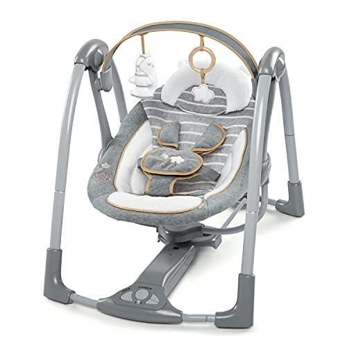 Ingenuity, Bella Teddy zusammenklappbare und tragbare Babyschaukel mit 5 Schaukelgeschwindigkeiten, 8 Melodien, 5-Punkt Sicherheitsgurt und hochwertigem Plüsch