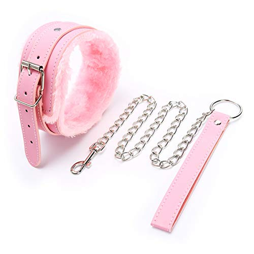 Chenyesun Leder Halsbänder mit Leine Set Choker Damen Einstellbar Kragen Choker SM Halsband Plüsch Pink Sex für Frauen Herren