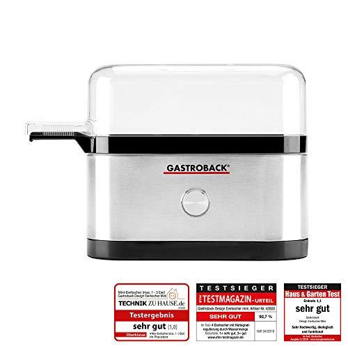 GASTROBACK #42800 Design Eierkocher Mini, für bis zu 3 Eier, inkl. Meßbecher mit Skala, 350 Watt, Schwarz, Edelstahl