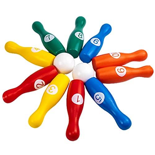 Bowlingkugel Indoor- Und Outdoor-Spiel Requisiten Bowlingkugel Holzspielzeug Für Kinder Ab 2 Jahren Umweltfreundliche Farbe Auf Wasserbasis Glatt Und Geschmacklos