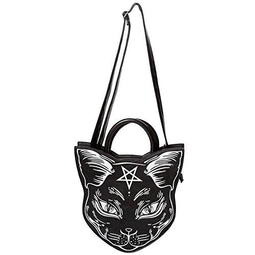 Banned Nemesis Handtasche Gothic Okkultes Punk Pentagramm Katze Cross Body Tasche