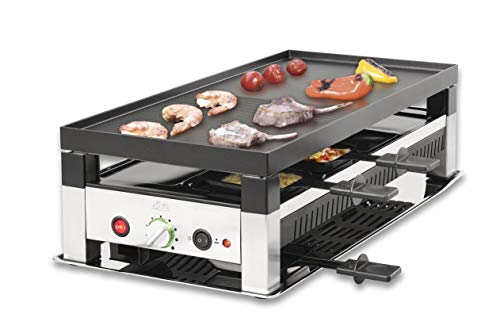 Solis 5 in 1 Table Grill 791 Raclette Grill - Elektrogrill - Raclette, Tischgrill, Wok, Crêpes und Pizza - 8 Personen - Edelstahl