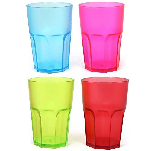 com-four® 4x Stabile Mehrweg Trinkbecher in verschiedenen Farben, bunte Mehrweg- Becher, stapelbar, 400 ml