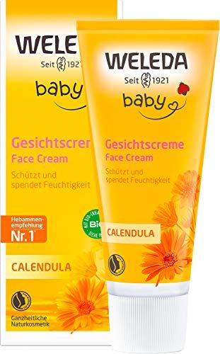 WELEDA Baby Calendula Gesichtscreme, Naturkosmetik Feuchtigkeitscreme zur Pflege von trockener und empfindlicher Haut, Schutz vor Austrocknen und Unreinheiten (1 x 50 ml)