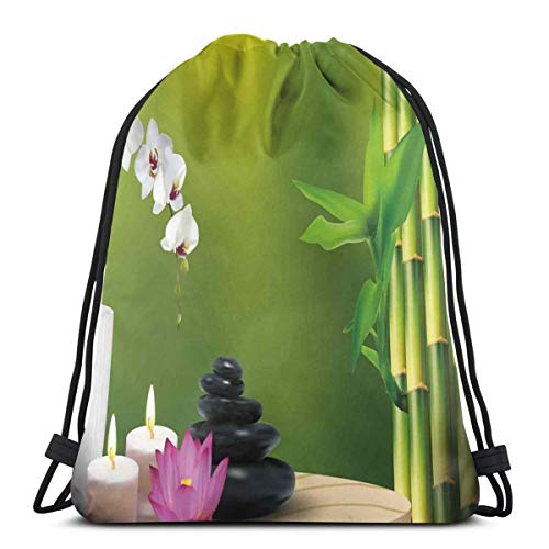 DPASIi Drawstring Shoulder Backpack Travel Daypack Gym Bag Sport Yoga, Bamboo Flower Stone Wax On The Table Orchid Rock with Healthy Lifestyle Theme,5 Liter Capacity,Adjustable.