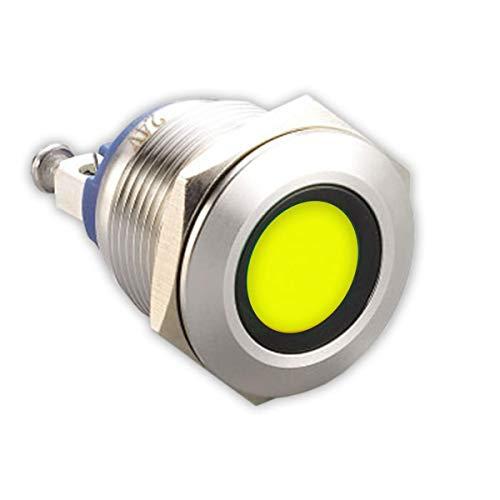LED-Kontrollleuchte - 19 mm - V2A Edelstahl - AC/DC 6V-24V - Staub und Wasserdicht nach IP67-19 mm - Gelb