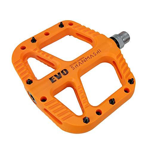 FrontStep Ultraleicht Nylon Carbon Fahrradpedale Für Mountaibike/MTB/Rennrad/Trekkingrad mit Cr-Mo Stahlspindel 1 DU und 1 Abgedichtete Lager rutschfest, Rennrad Pedale (Orange)