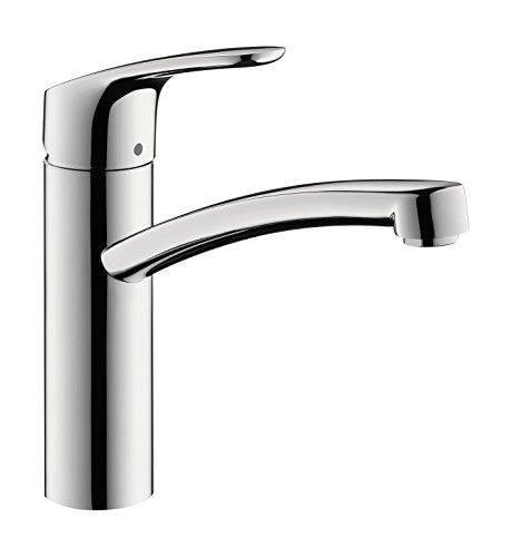 hansgrohe Niederdruck Küchenarmatur Focus M41, Wasserhahn Küche mit Auslauf Höhe 160 mm, 150° drehbar, 1 Strahlart, Chrom