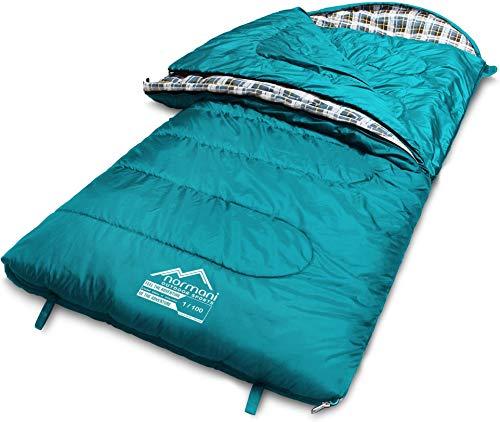 normani 4-in-1-Funktion Extrem Outdoor Schlafsack 'Antarctica' aus Nylon Rip-Stop mit 500 + 250 g/m² Hollow Fiber Füllung 220 x 90 cm Farbe Limited Petrol Größe Rechts