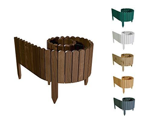 Floranica® Flexibler Beetzaun 203 cm (kürzbar) aus Holz | als Steckzaun Rollborder | Beeteinfassung | Kanteneinfassung |Rasenkante oder Palisade | wetterfest imprägniert, Höhe:30 cm, Farbe:Braun