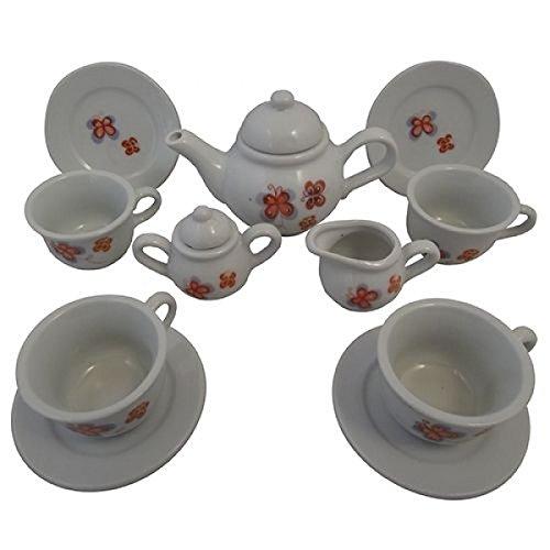 Puppen-Teeservice | Kinder-Kaffeeservice aus Porzellan | Schmetterlings-Design | mit Kanne, Tassen, Teller, Zuckerdose udn Milchkännchen |Holzspielzeug-Peitz