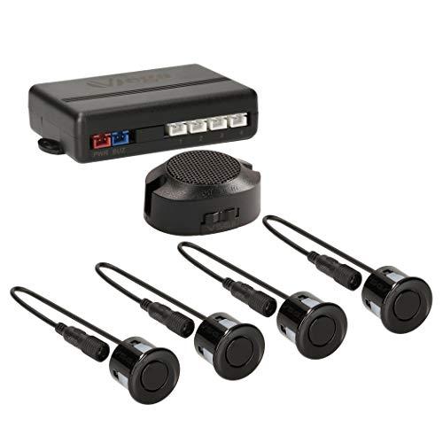 VSG24 22111 – Premium Einparkhilfe Set, Akustisches Signal, Park System inkl. 4 Sensoren & Lautsprecher, e13-Zulassung, Automatisch, Hinten - Schwarz