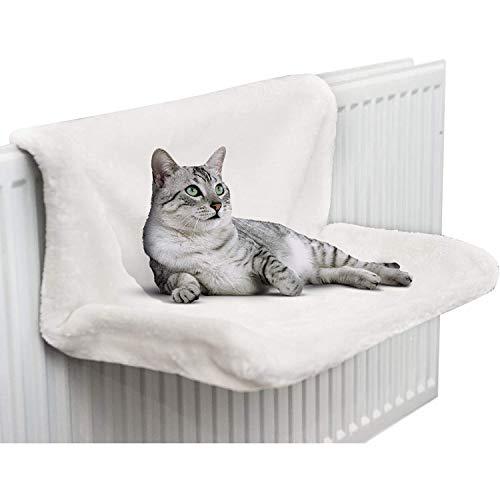 CawBing Katze Kätzchen Haustier Tier hängendes Heizkörperbett Warmes Fleece Korb Wiege Hängematte Langlebiger Metallrahmen Starkes und langlebiges Haustierbett Weiß