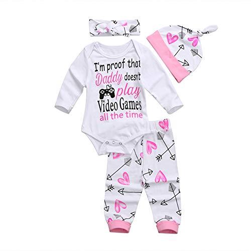 Geagodelia 3tlg Babykleidung Set Baby Mädchen Langarm Strampler Body + Lang Hose Legging Sommer Kleidung 6 Monate Neugeborene Outfits Mütze Hello World (Video Games, 3-6 Monate)