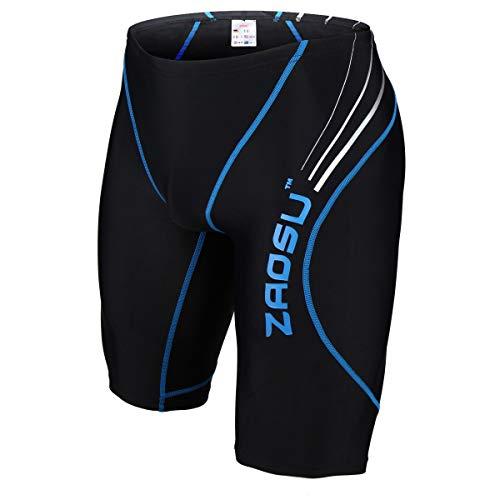 ZAOSU Wettkampf-Schwimmhose Z-Black - Badehose für Jungen und Herren, Farbe:schwarz/blau, Größe:4