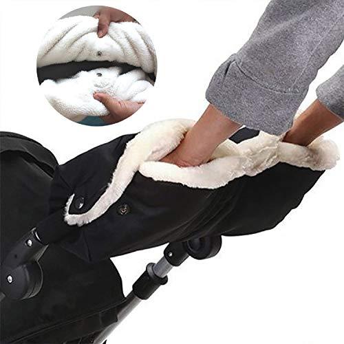 trounistro Handwärme Kinderwagen,Handschuhe Kinderwagen Handmuff Kinderwagen Handschuhe mit warme Fleece und Baumwolle Innenseite,Wasserfest atmungsaktiv und windfest, (Schwarz)