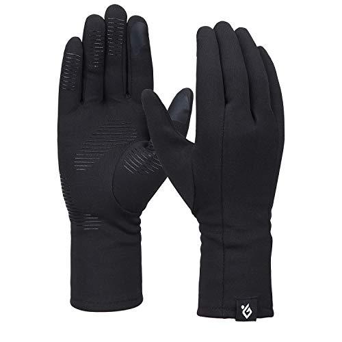Bequemer Laden Damen Winter Warme Touchscreen Handschuhe Winddichte Leichte Rutschfeste Handschuhe, Schwarz, L