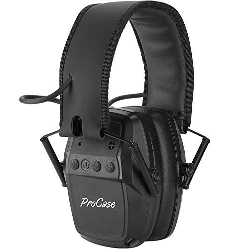 ProCase aktiver Gehörschütz Schießen Lärmschutz Elektronischer Kopfhörer faltbarOhrenschützer mit Intelligente Schalldämmung, Professionell für Jagd Schießen -Schwarz