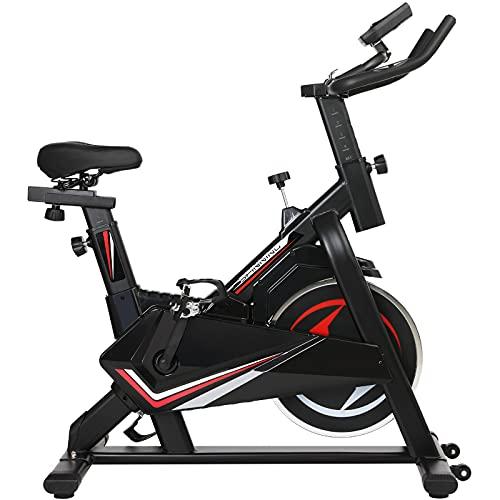 femor Heimtrainer Fahrrad, Fitnessbike mit stufenlose Widerstandseinstellung, Indoor Cycle Bike mit 5 Höhenverstellungen von Armlehnen und Sitzkissen, Heim Sitzfahrrad mit LCD-Display bis 150kg