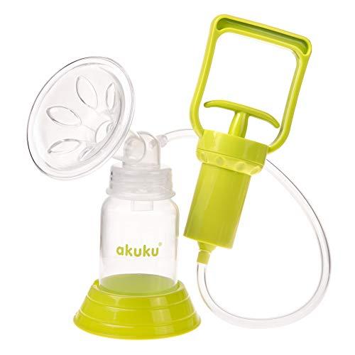 AKUKU Hand-Milchpumpe Erstausstattungsset 7-teilig zum Abpumpen von Muttermilch Neugeborene ab 0 Monate inklusive Zubehör: Anti-Kolik-Sauger Silikon, Baby-Flasche 120 ml Handpumpe Brust-Pumpe Milch