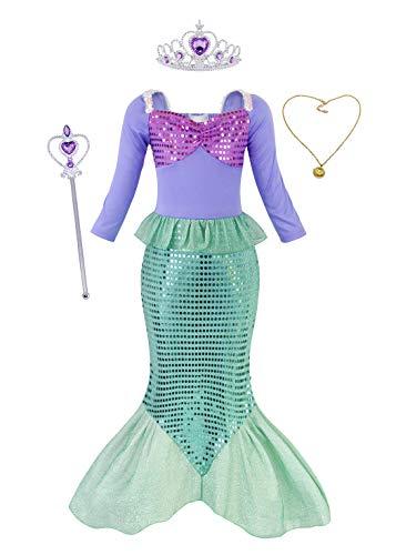 AmzBarley Meerjungfrau Kostüm Kleid Kinder Mädchen Kostüme Prinzessin Kleider Karneval Halloween Cosplay Kleidung Geburtstag Party Ankleiden,Grün+008,9-10 Jahre,140