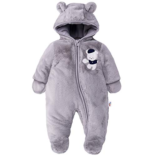 Neugeborenes Baby Schneeanzüge Winter Overall mit Kapuze Fleece Strampler Mädchen Jungen Warm Outfits Grau 0-3 Monate