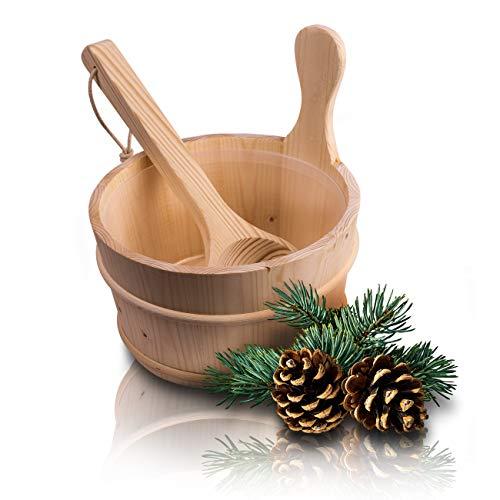 CozyNature Sauna Eimer mit Kelle aus hochwertigem finnischen Kiefern-Holz | Sauna Zubehör, Saunakübel, Aufgusseimer | Kunstoffaufsatz inklusive - 4 Liter (Sauna Eimer + Kelle + Kunststoffaufsatz)