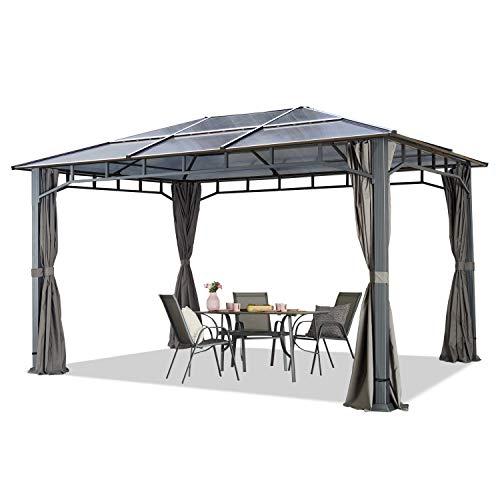 TOOLPORT Gartenpavillon 3x4 m wasserdicht ALU Deluxe Polycarbonat Dach ca. 8mm Pavillon 4 Seitenteile Partyzelt grau 9x9cm Profil