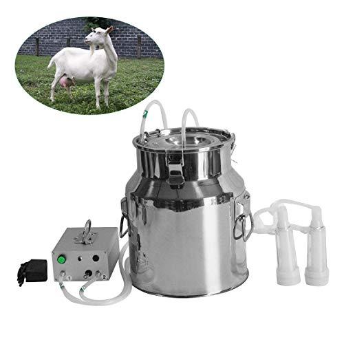 Levuyou Elektrische Pulsationsmelkmaschine, Ziegenschaf-Vakuumpumpe aus Edelstahl mit 2 Köpfen, 14 l