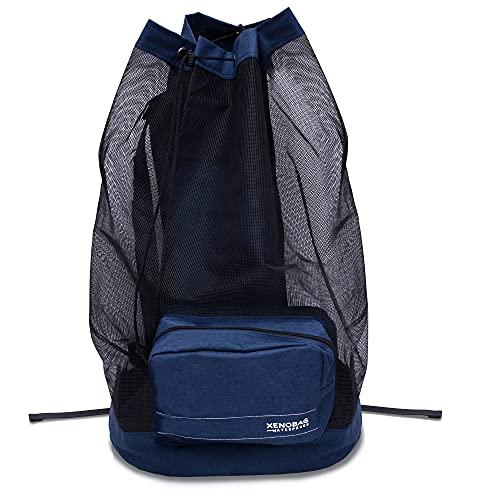 XENOBAG Netz Rucksack XXL in Schwarz oder Blau/Netzbeutel, groß für Tauch-, Schnorchel- oder Sportausrüstung / 95L Mesh Bag z.B. für Masken, Flossen, Schnorchel (ABC Ausrüstung) u. Neopren (BLAU)