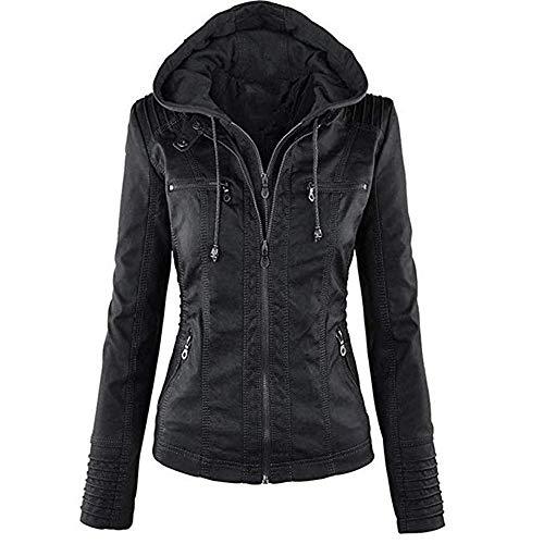 Newbestyle Kapuzen Kunstleder Damen Jacke mit Reißverschluss Motorradjacke Bikerjacke Kapuzenjacke Übergangsjacke Ladies Oberbekleidung (Normale EU-Größe) (schwarz, XL/44)