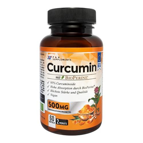 CURCUMIN 500mg   60 Kapseln   2-Monats-Vorrat   Mehr als 95% reine Curcuminoide   Produziert in der EU   Mit Piperin zur Absorption   Vegan   Aus Kurkuma   Hochdosiert