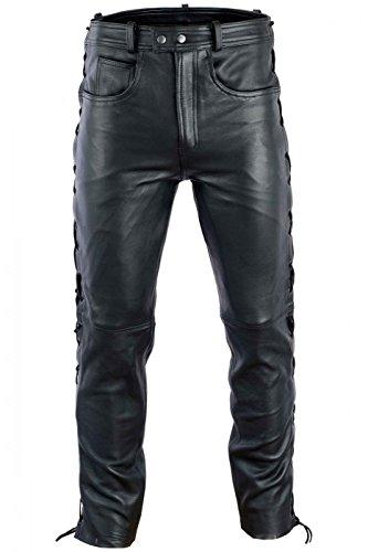 BULLDT Lederhose lederjeans bikerjeans seitlich geschnürt Anilinleder Naturleder, Größe:48