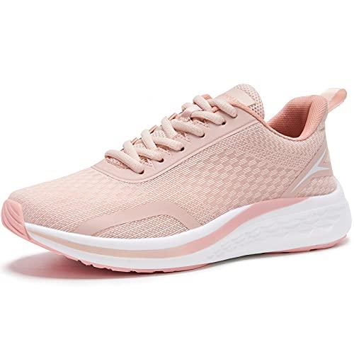 URDAR Turnschuhe Damen Atmungsaktiv Laufschuhe Outdoor Sportschuhe Leicht Walkingschuhe Fitness Sports Sneakers Straßenlaufschuhe Freizeitschuhe(Rosa,36 EU)