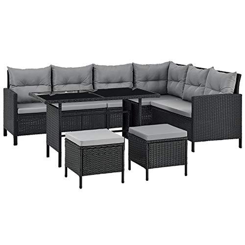 ArtLife Polyrattan Lounge Manacor   Gartenmöbel Set mit Sofa, Tisch & 2 Hockern   Bezüge grau   Sitzgruppe für Garten, Terrasse & Balkon
