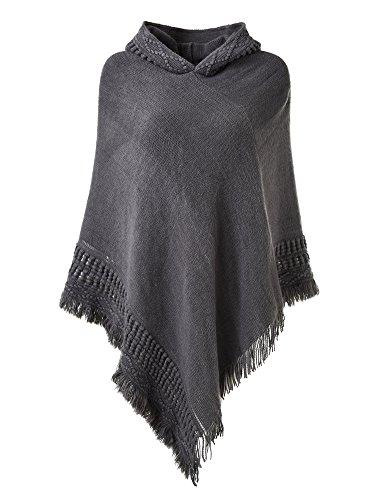 Ferand Damen Kapuzen Poncho mit Häkelborde, Cape für Frauen aus Strickmaterial mit Zierfransen, Grau
