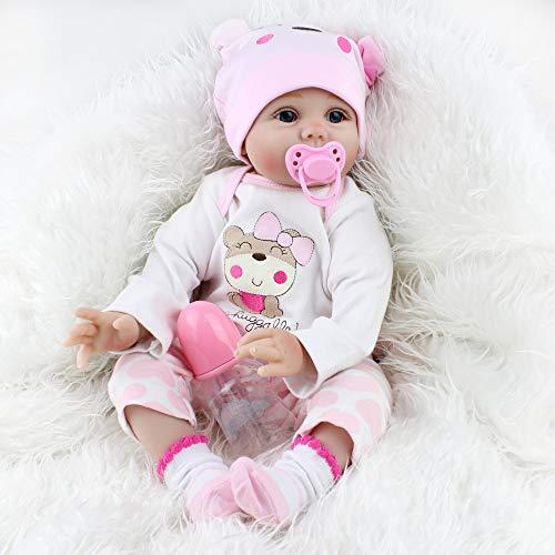 Scnbom 22inch 55cm Reborn Babys mädchen lebensechte babypuppen silikon Puppe wie echtes Toddler realistische doll Junge günstig