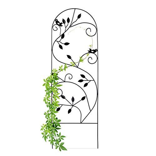 Relaxdays Rankgitter Vogel, Metall, Rankhilfe Garten Deko, Kletterhilfe für Pflanzen, 120 x 40 cm, Rankenmuster, schwarz