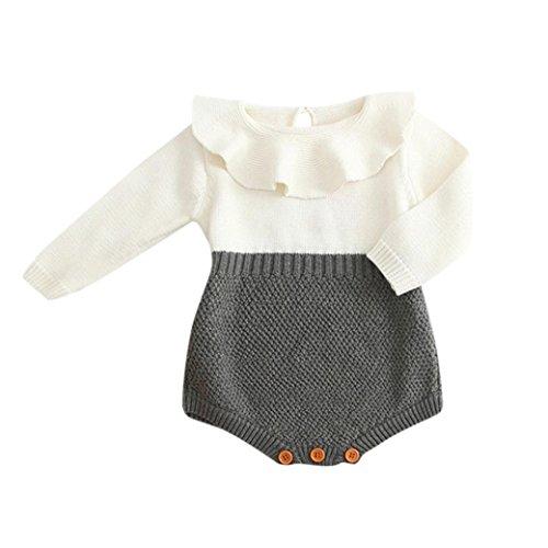 BeautyTop Kleinkind Neugeborenen Mädchen Baby Gestrickten Pullover Winter Warme Prinzessin Strampler Overall Kleidung Outfit (Grau, 60/0-3 Monate)