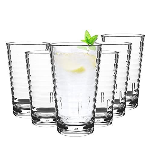 6 Stück 385ml Kunststoff Gläser,Bruchfestes Schnapsglas Wasserglas Stapelbar für Camping Acryl-Plastikwasserbecher Wiederverwendbare spülmaschinenfeste Becher Tassen Acryl-Trinkgläser Clear