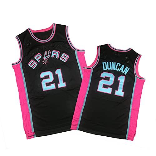 ZMQO Spúrs 21# Dúncan Basketball-Trikots für Herren- und Frauen, Bestickt, Mesh Quick-Trocknung, Mode S-XXL Black-L
