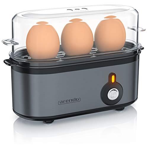Arendo - Edelstahl Eierkocher Threecook - Egg Cooker - EIN AUS-Schalter - Wählbarer Härtegrad - 210 W - 1-3 Eier - Antirutschgummifüße für sicheren Halt - BPA-frei - GS-Zertifiziert - Cool Grey
