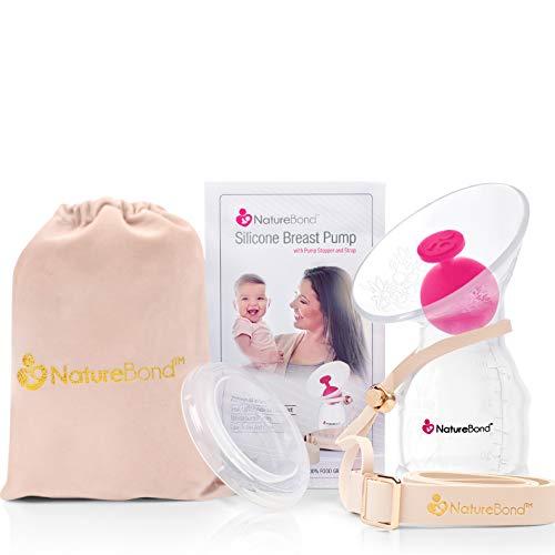NatureBond Milchpumpe - Muttermilchauffänger - Silikon manuelle handmilchpumpe - rettet jeden Tropfen Muttermilch - All-In-1 Deckel - Luftdicht vakuum versiegelt