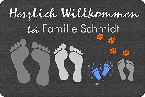 Verlag HE Fußmatte Füße/Pfoten Teppich (Anzahl frei wählbar) personalisiert Name lustig grau Geschenk Hund Katze anthrazit Wunsch Idee aussen innen waschbar
