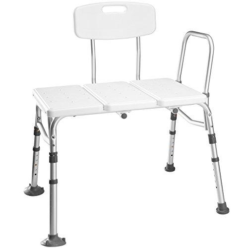 TecTake Duschhocker Duschbank Badewannen Einstiegshilfe Badewannenstufe aus Aluminiumgestell   höhenverstellbar - diverse Modelle - (Stuhl mit Arm- u. Rückenlehne   Nr. 402512)